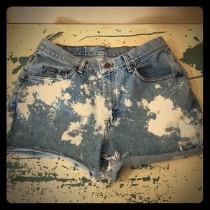 High Rise Waisted Bleach Splattered Jeans Shorts